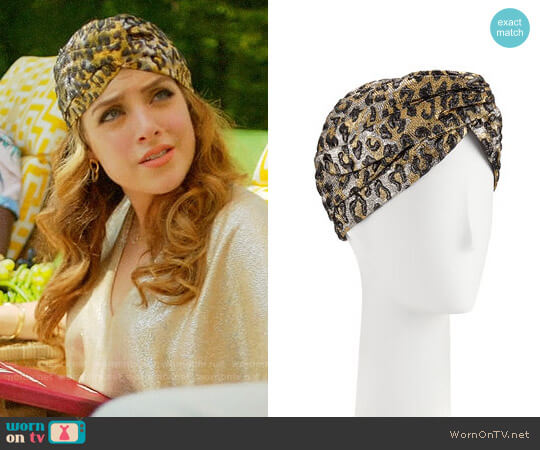 Gucci Metallic Leopard-Print Turban by Gucci worn by Elizabeth Gillies on Dynasty