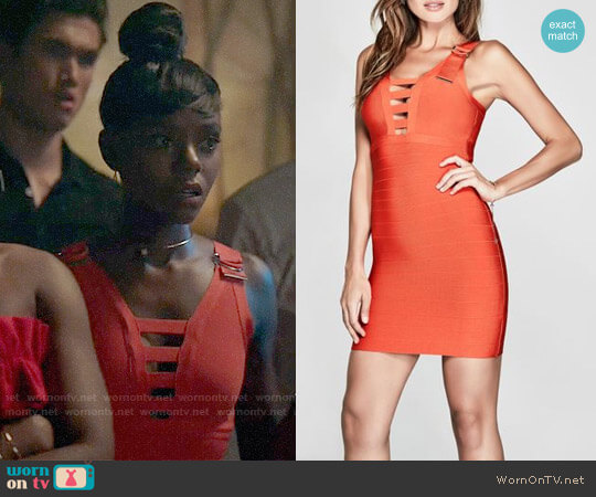 Guess Adriano Bandage Dress worn by Josie McCoy (Ashleigh Murray) on Riverdale