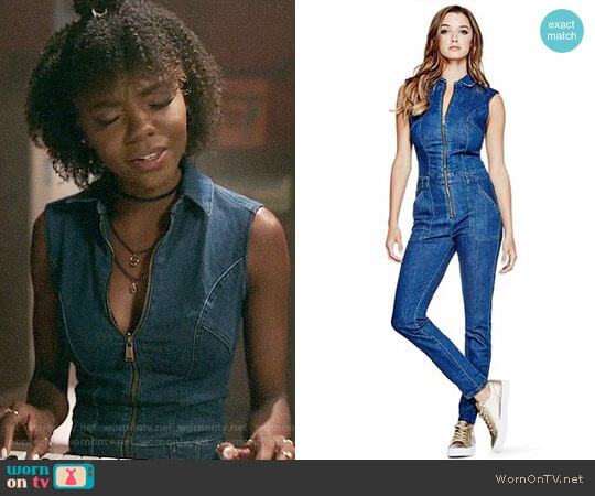 Guess Jessie Denim Jumpsuit worn by Ashleigh Murray on Riverdale
