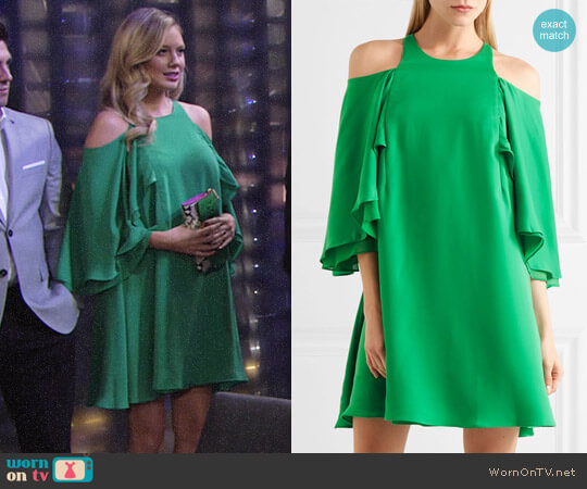 Halston Heritage Cold Shloulder Ruffle Dress worn by Abby Newman (Melissa Ordway) on The Young & the Restless
