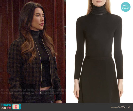 Helmut Lang Bondage Jersey Leather Neck Top worn by Steffy Forrester (Jacqueline MacInnes Wood) on The Bold & the Beautiful