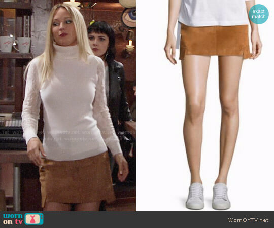 Helmut Lang Cargo Suede Mini Skirt worn by Sharon Collins (Sharon Case) on The Young & the Restless