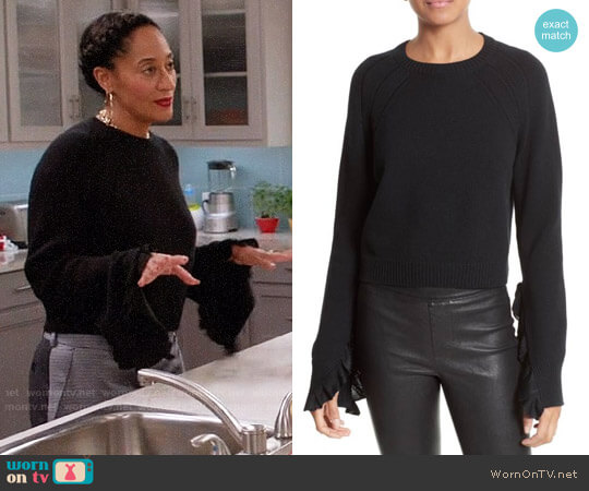 Helmut Lang Ruffle Crop Pullover worn by Tracee Ellis Ross on Blackish