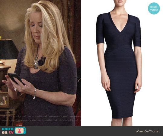 Herve Leger Half-Sleeve V-Neck Bandage Dress worn by Nikki Reed Newman (Melody Thomas-Scott) on The Young & the Restless