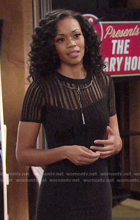 Hilary's tight black open knit dress on The Young and the Restless