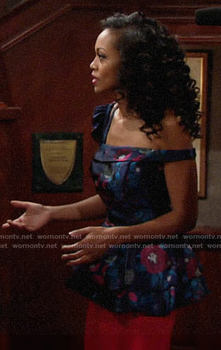 Hilary's floral one-shoulder peplum top on The Young and the Restless
