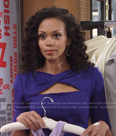 Hilary's blue twisted cutout dress on The Young and the Restless