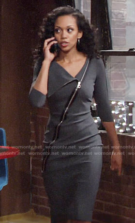Hilary's grey zip-front dress on The Young and the Restless