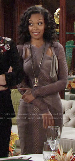 Hilary's mesh Thanksgiving dress on The Young and the Restless