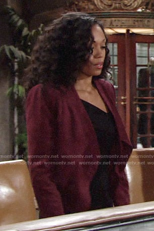 Hilary's dark red suede jacket on The Young and the Restless