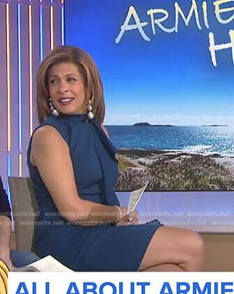 Hoda's blue ruffled sleeveless dress on Today