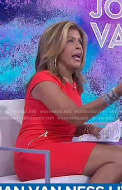 Hoda's red cap sleeve dress on Today