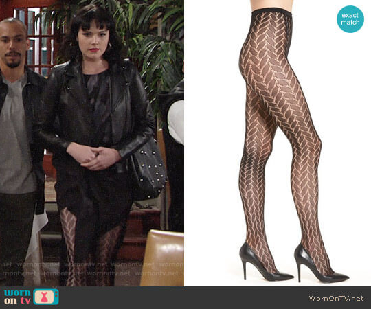 Hue 'Bold Herringbone' Net Tights worn by Cait Fairbanks on The Young & the Restless