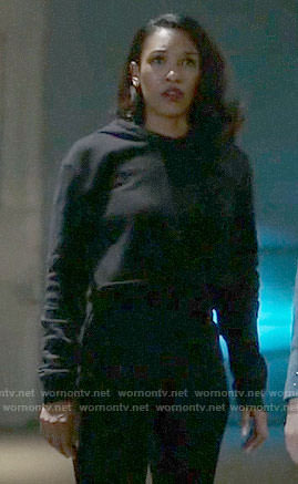 Iris's black cropped hoodie on The Flash