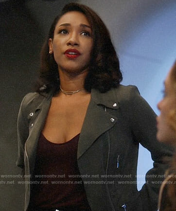Iris's green moto jacket on The Flash