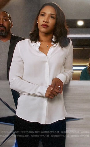Iris's white button down blouse on The Flash