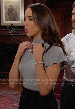 Ivy's grey ruffled sleeve top on The Bold and the Beautiful