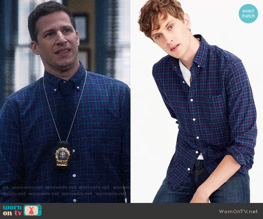 J. Crew American Pima cotton oxford shirt in tattersall worn by Jake Peralta (Andy Samberg) on Brooklyn Nine-Nine