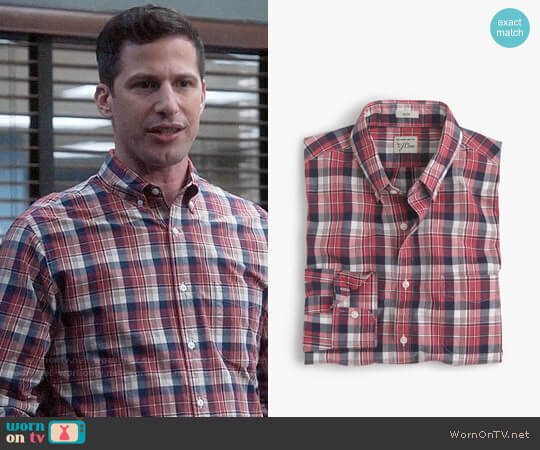 J. Crew Slim Secret Wash Shirt in Classic Red Plaid worn by Jake Peralta (Andy Samberg) on Brooklyn Nine-Nine