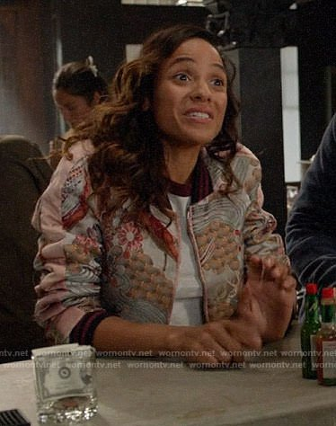 Jacinda's embroidered bomber jacket on Once Upon a Time