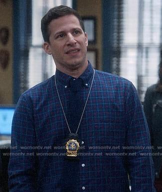 Jake's blue checked button down shirt on Brooklyn Nine-Nine