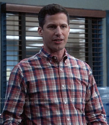 Jake's red plaid shirt on Brooklyn Nine-Nine