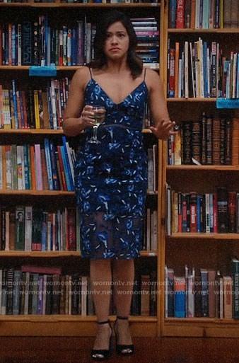Jane's blue floral midi dress on Jane the Virgin