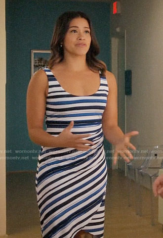 Jane's blue striped dress on Jane the Virgin
