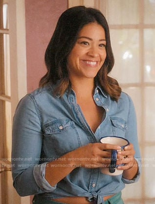Jane's chambray tie-front shirt on Jane the Virgin