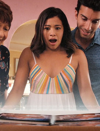 Jane's white dress with multi-colored stripes on Jane the Virgin