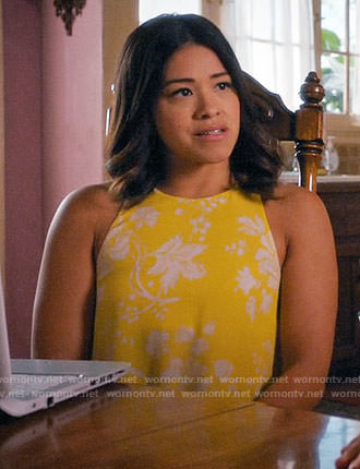 Jane's yellow floral open back top on Jane the Virgin