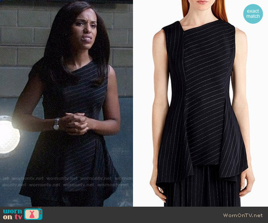 Jason Wu Asymmetrical Pinstripe Stretch Crepe Top With Drape worn by Kerry Washington on Scandal