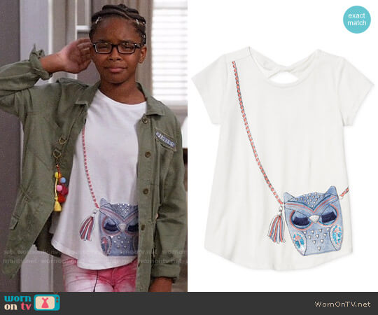 Jessica Simpson Owl Purse Pocket Keyhole T-Shirt worn by Diane Johnson (Marsai Martin) on Blackish