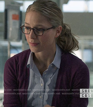 Kara's scalloped trim button down shirt on Supergirl