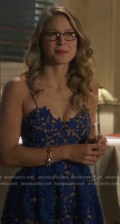 Kara's blue lace dress on Supergirl