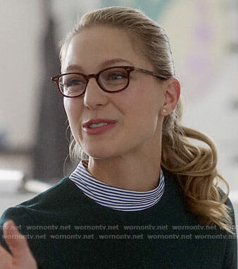 Kara's green dress with striped mock neck on Supergirl