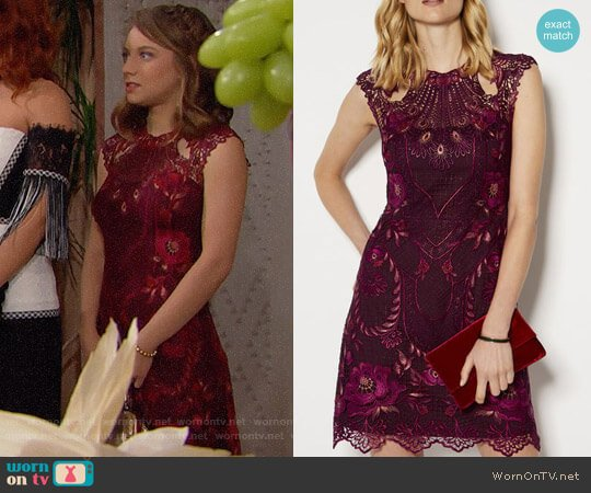 Karen Millen Embroidered Mini Dress worn by Courtney Grosbeck on The Bold & the Beautiful