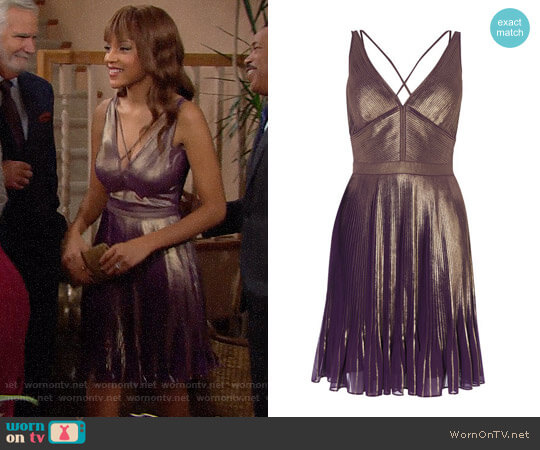 Karen Millen Metallic Pleated Dress worn by Nicole Avant (Reign Edwards) on The Bold & the Beautiful