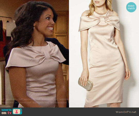 Karen Millen Satin Bow Pencil Dress worn by Maya Avant (Karla Mosley) on The Bold & the Beautiful