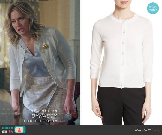Kate Spade Scallop Silk Blend Cardigan worn by Mädchen Amick on Riverdale