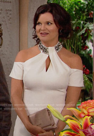 Katie's white cold-shoulder Thanksgiving dress on The Bold and the Beautiful