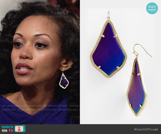 Kendra Scott Alex Earrings worn by Mishael Morgan on The Young & the Restless