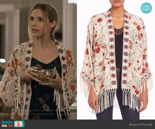 The Kooples Hippy Flower Print Silk Kimono worn by Stephanie 'Stevie' McCord (Wallis Currie-Wood) on Madam Secretary