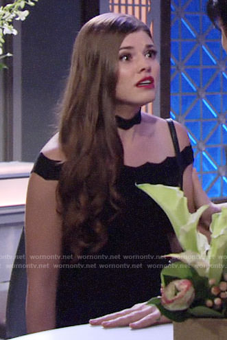 Crystal's black zig-zag choker dress on The Young and the Restless