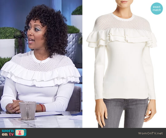 Alexa Ruffle Sweater by Lucy Paris worn by Tamera Mowry on The Real