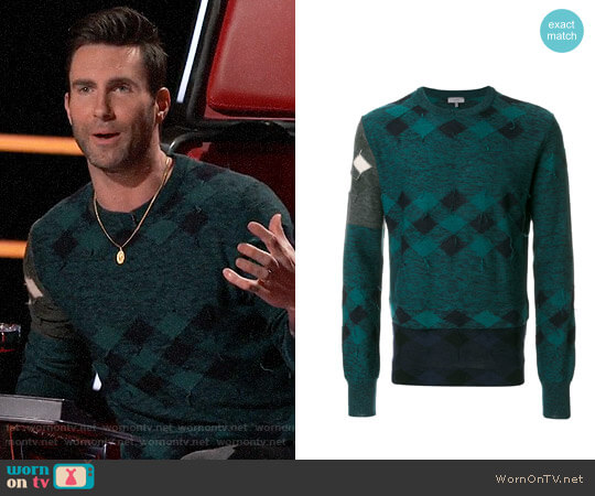 Lanvin Checked Sweater worn by Adam Levine on The Voice