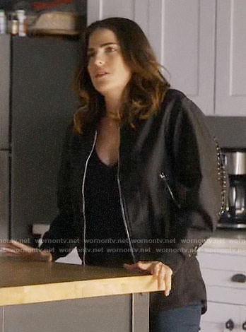 Laurel's black bomber jacket with lace-up detail on How to Get Away with Murder