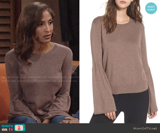 Leith Bell Sleeve Sweater worn by Lily Winters (Christel Khalil) on The Young & the Restless
