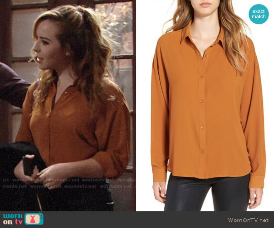 Leith Dolman Sleeve Blouse in Rust Ginger  worn by Camryn Grimes on The Young & the Restless