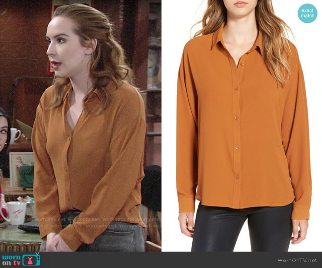 Leith Dolman Sleeve Blouse in Rust Ginger  worn by Mariah Copeland (Camryn Grimes) on The Young & the Restless
